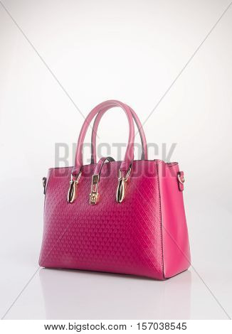 Bag Or Red Colour Woman Bag On Background.
