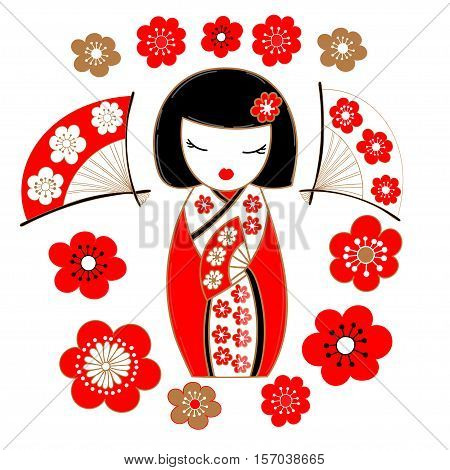 Cute illustration of a japanese doll kokeshi in red kimono with sakura flowers and fans.