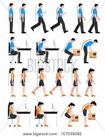 Colorful postures set with man and woman in correct and wrong positions for spine isolated vector illustration