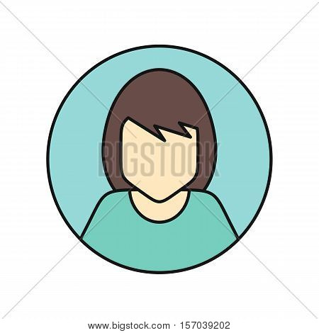 Young woman private avatar icon. Young woman in green dress. Social networks business private users avatar pictogram. Round line icon. Isolated vector illustration on white background.