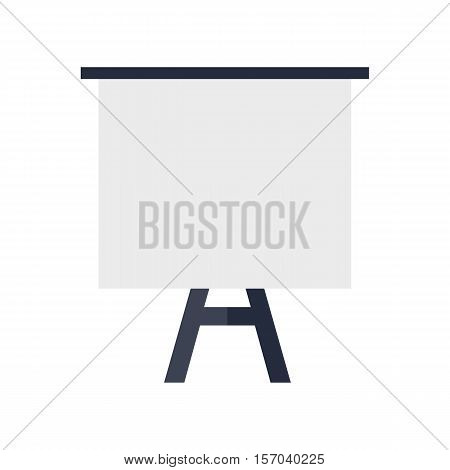 Tripod whiteboard with blank screen. Tripod whiteboard icon. Empty board at a presentation. Tripod icon. Isolated object in flat design on white background.