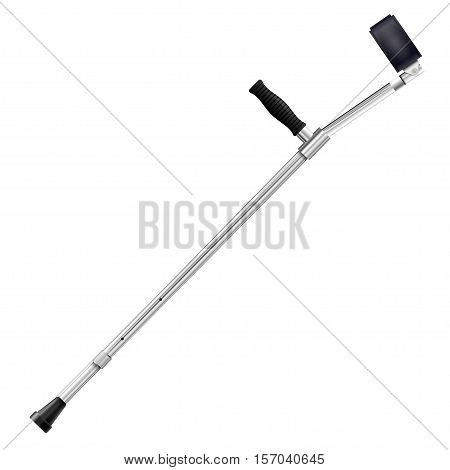 Modern metal crutch isolated on white background