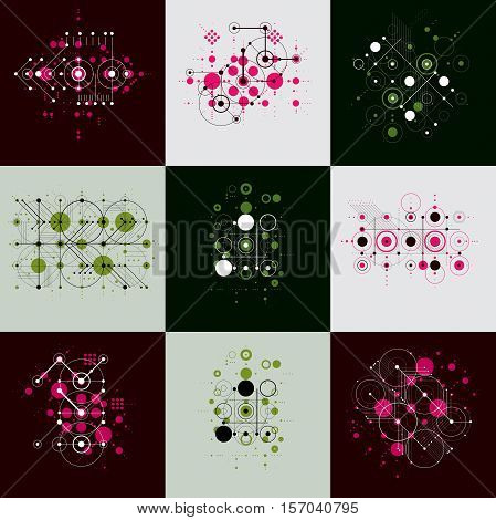 Set of modular Bauhaus vector backgrounds created from simple geometric figures like circles and lines.
