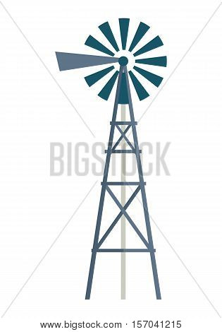 Wind water pump vector. Flat design. Traditional construction for pimping water from the ground.  Water supply and irrigation concept. Picture for agricultural, farm, countryside theme illustrating.