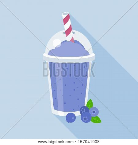 blueberries smoothie vector illustration, blueberry juice, flat design with long shadow