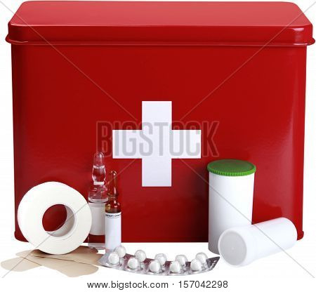 First aid kit and equipment - isolated image