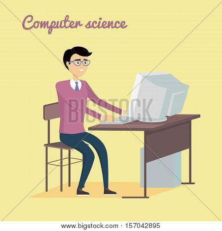 Computer science concept vector. Flat  style design. Man sitting at the table and working on computer. Illustration of programming learning and training, scientific analysis of the computer data.