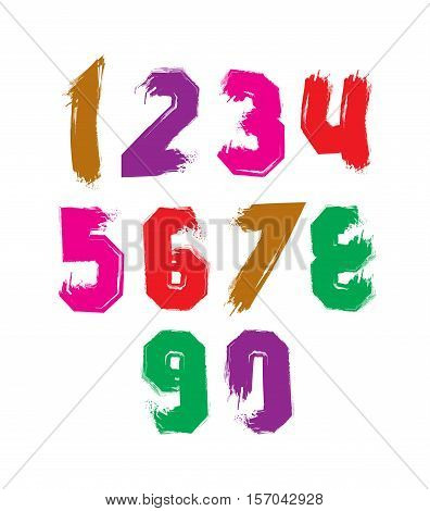 Hand painted smear digits isolated on white background acrylic vector numerals set.