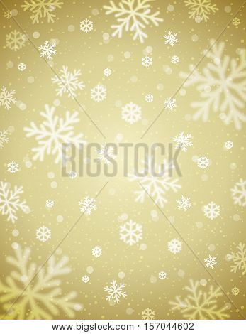 Beige Christmas background with blurred snowflakes vector illustration
