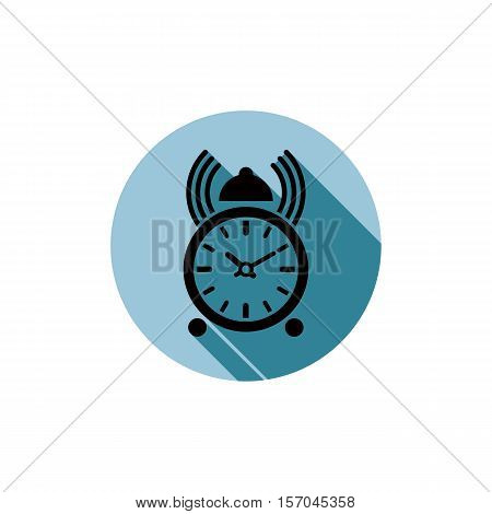 Wake up idea illustration. Classic three-dimensional alarm-clock isolated on white. Table clock with bells. poster