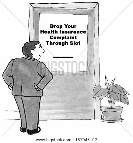 Black and white illustration of a man frustrated by the lack of customer service at the health insurance company.