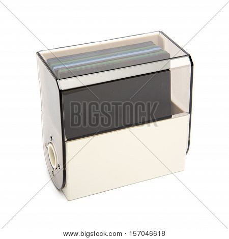 Floppy Disk Organizer Case Filled With Diskettes, Isolated