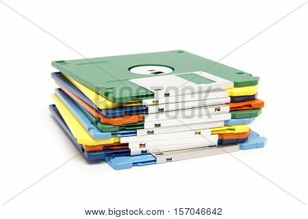 Stack Of Colored Floppy Disks