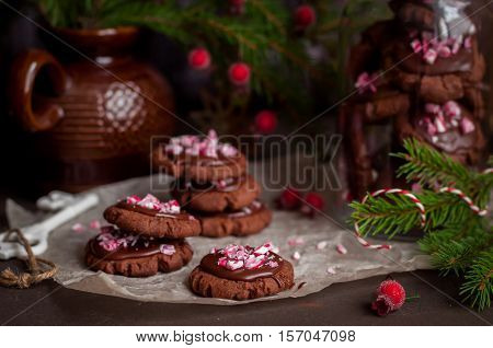 Chocolate Christmas Cookies With Crushed Candy Cane