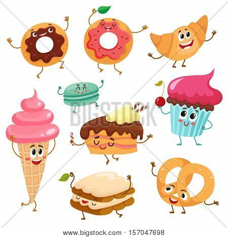 Set of funny dessert characters - donut, croissant, cupcake, cake, tiramisu, pretzel, macaroon, cartoon style vector illustration isolated on white background. Cute smiley sweets, dessert characters