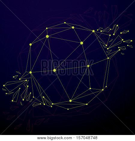 3D Vector Digital Wireframe Spherical Object Broken Into Different Particles And Refractions, Geomet