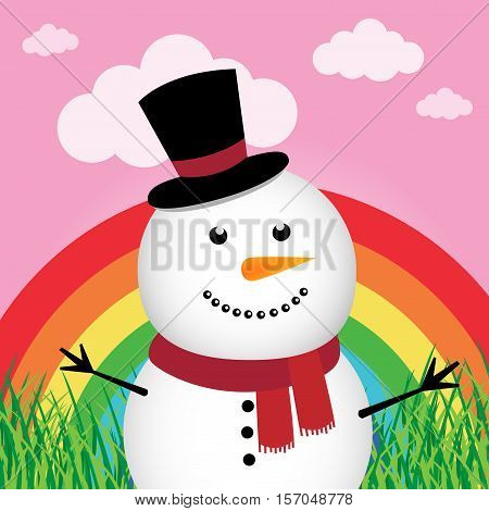 Happy snowman in the forest with rainbow