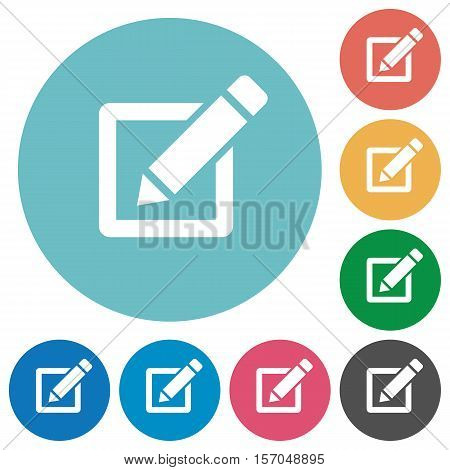 Editor white flat icons on color rounded square backgrounds