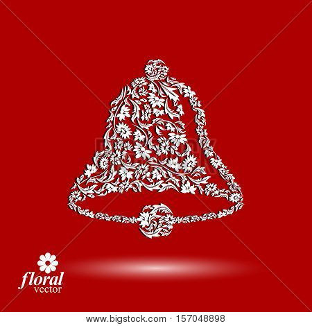 Flower-patterned hand bell. Celebration theme stylized floral vector illustration.