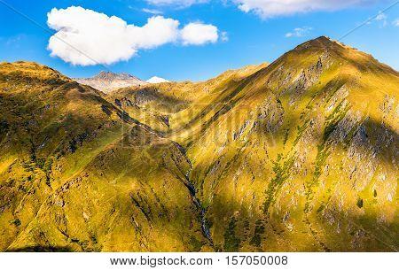 Mountains near St. Gotthard Pass in the Swiss Alps