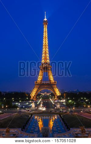 Paris France - June 27 2006: Eiffel Tower illumination show. Eiffel Tower is the highest monument in France use 20 000 light bulbs in the show.