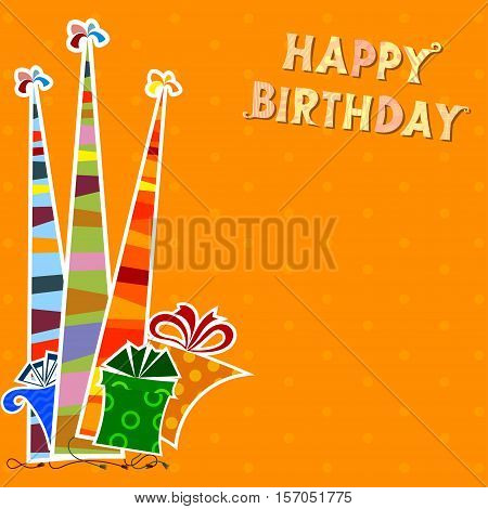 Birthday background with striped party hats and gifts