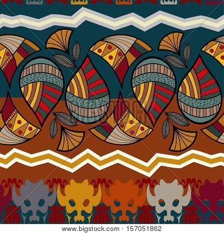 Seamless pattern with a buffalo head and a lotus flower
