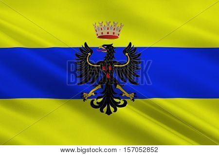 Flag of Trento is a city located in the Adige River valley in Trentino-Alto Adige/Sudtirol in Italy. 3d illustration