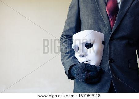 Business Man Carrying White Mask To His Body Indicating Business Fraud And Faking Business Partnersh