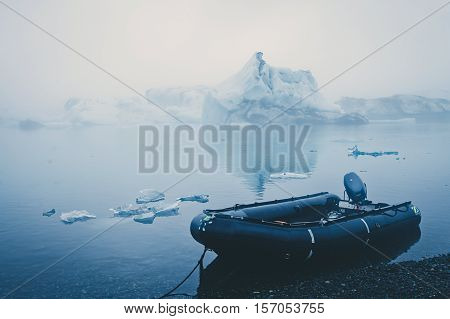 Beatiful vibrant picture of icelandic glacier and glacier lagoon with water and ice in cold blue tones