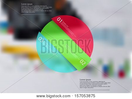 Illustration infographic template with rounded motif askew divided to three color pieces. Each item contains number and text. Background is created by blurred photo with financial motif.