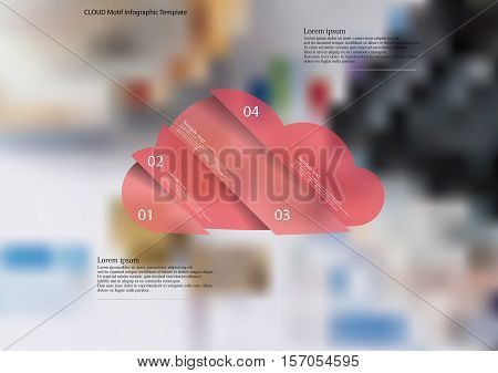 Illustration infographic template with cloud motif askew divided to four red pieces. Each item contains number and text. Background is created by blurred photo with financial motif.