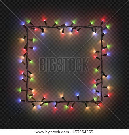 Christmas colorful bulbs, garland forming a square, vector. Festive blank quadratic frame with electric garland