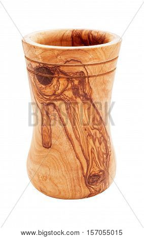 Vase of olive wood isolated on white