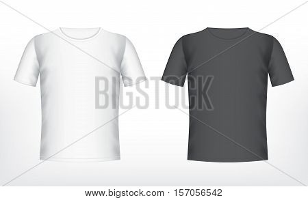 Mens white and black t-shirt with short sleeve. Vector mockup. EPS10