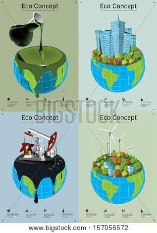 Set of Concept illustrations. The earth polluted by waste and oil productions and earth with green energy using.
