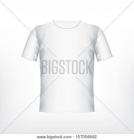 Mens white t-shirt with short sleeve. Vector mockup. EPS10