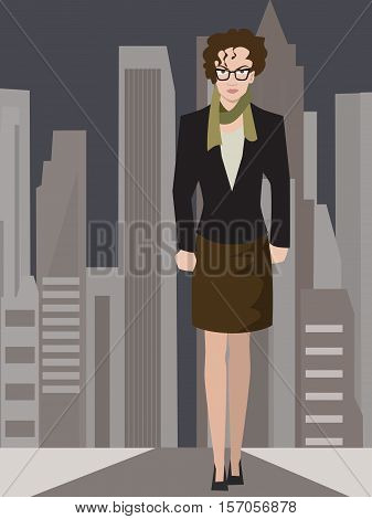 resolute business woman on modern city background - vector illustration