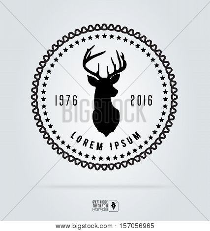 Badge labels hipster logo. Vector illustration deer head. Retro vintage emblem templates. Graphics for logotypes and elements, identity, labels, badges, objects