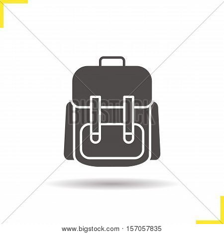 School backpack icon. Drop shadow schoolbag silhouette symbol. Student rucksack. Negative space. Vector isolated illustration