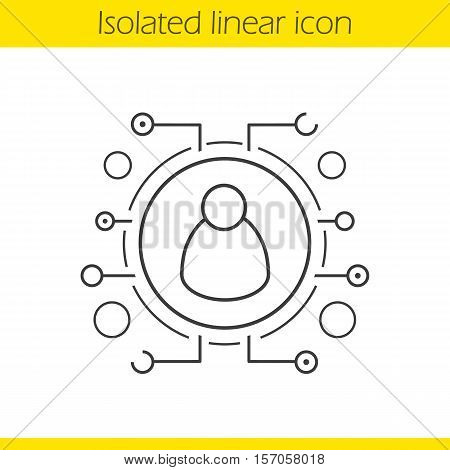 User linear icon. Thin line illustration. Contour symbol. Personal data. Networking. Vector isolated outline drawing