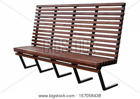 Modern brown bench isolated on white background.