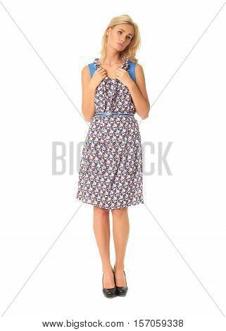 Full Length Of Flirtatious Woman In Tea Dress Isolated On White