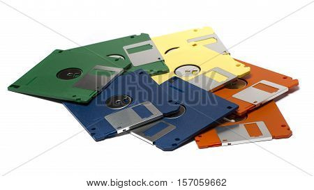 Heap Of Color Floppy Disks