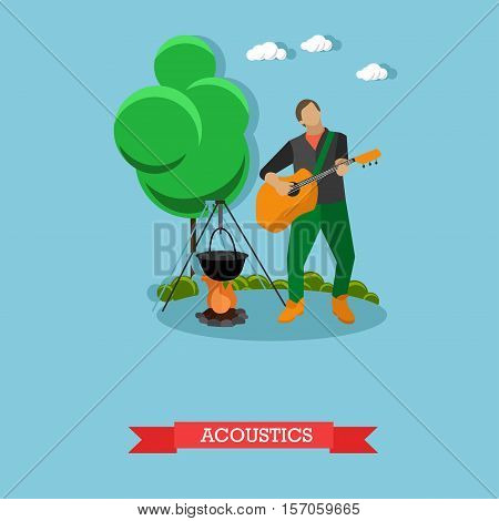 Young man singing and playing acoustic guitar near campfire. Camping and acoustics concept template. Vector Illustration in flat design.