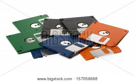Pile Of Color Floppy Disks