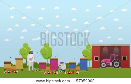 Beekeepers men in uniform working on village apiary near farm. Apiculture concept vector illustration in flat style.