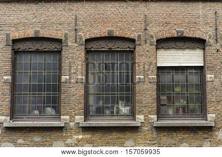Exterior architecture detail of building in Gent, Belgium