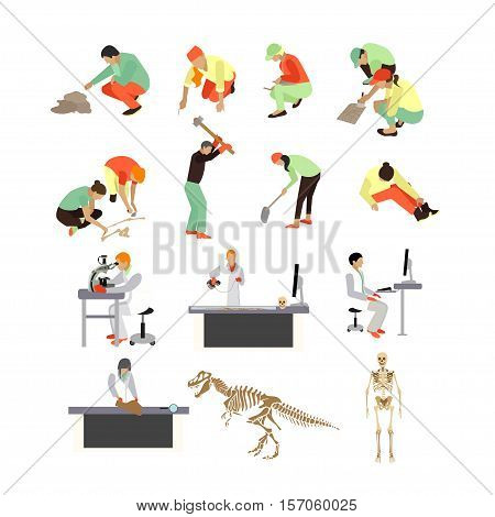 Vector set of archaeologists, researchers at work, tools and equipment, isolated on white background. Archaeological research concept design elements, icons in flat style.