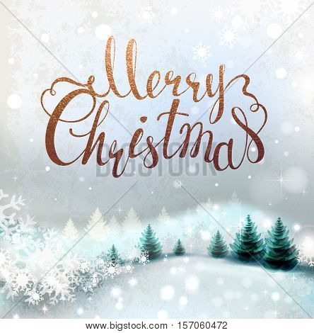 Shiny Christmas background with winter snowy landscape and fir-trees. Holiday lettering.